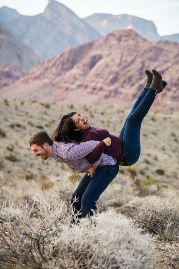 Fun Engagement Session in Las Vegas Red Rock Canyon National Conservation Area in Calico Basin