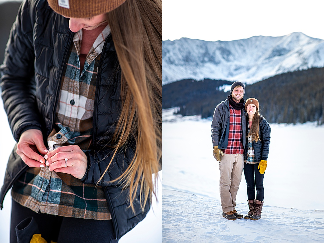 Engagement ring in the snow during an engagement photography session in Breckenridge, Colorado with Hillary Shedd Photography, Colorado Wedding Photographer