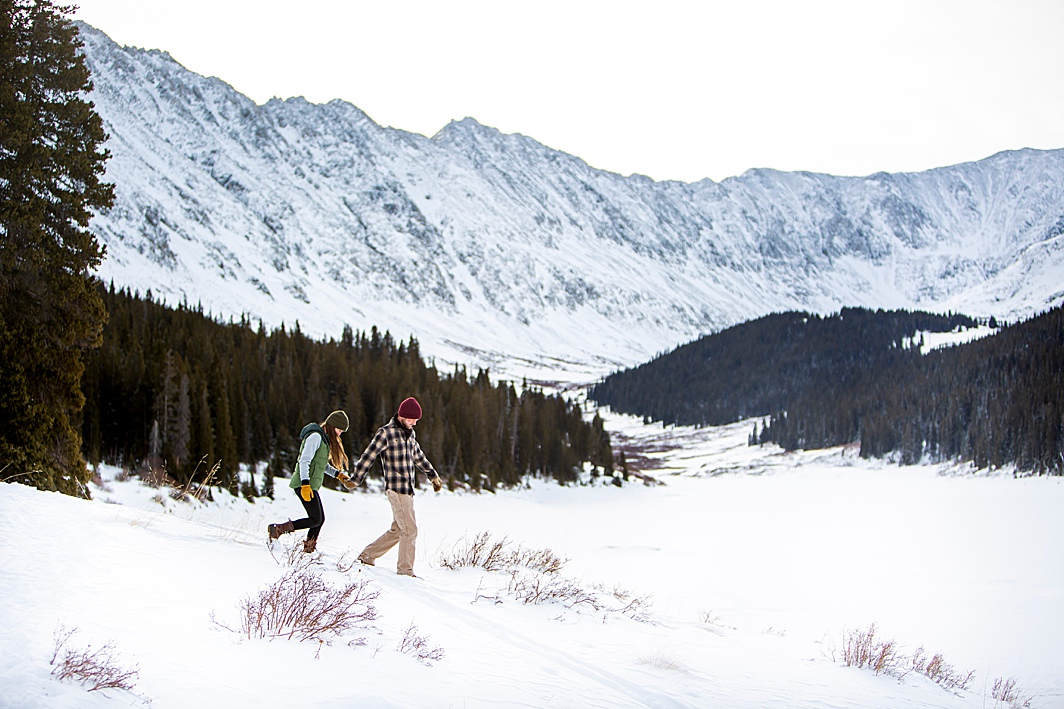 Snowy mountain engagement shoot in Breckenridge, Colorado with Hillary Shedd Photography, Colorado Wedding Photographer.