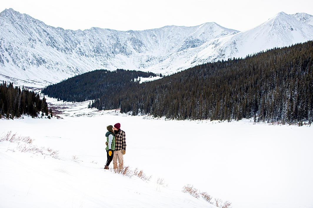 Snowy mountain engagement shoot in Colorado.