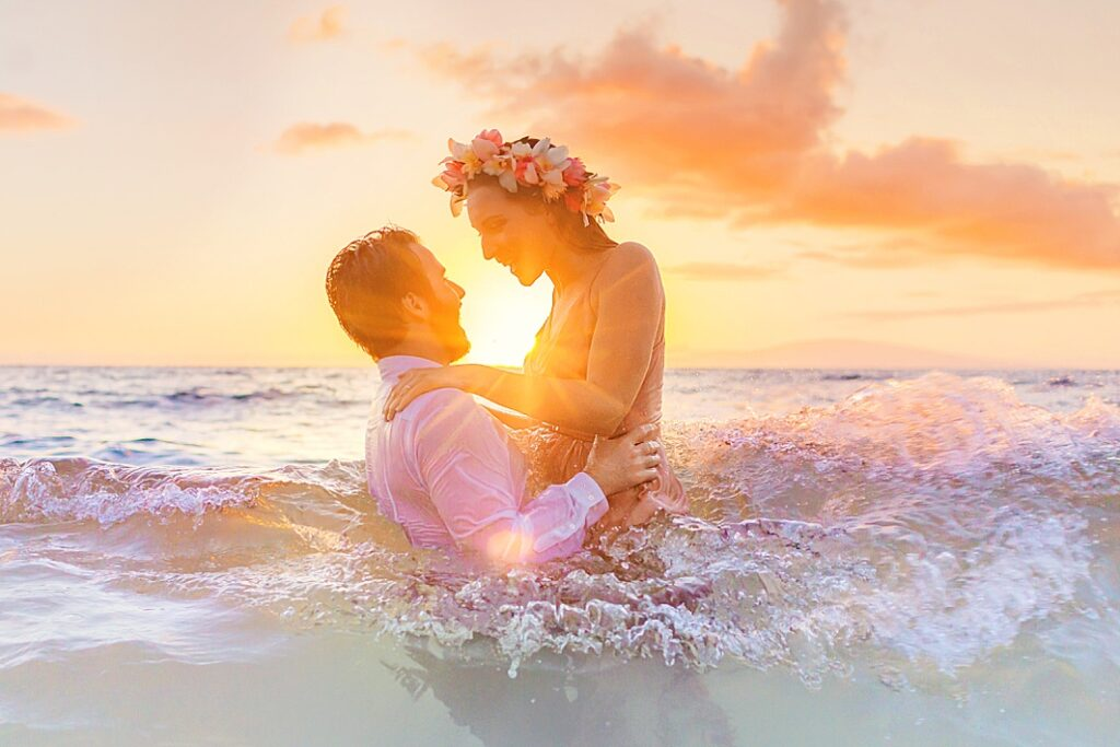 Couple in the water in Maui