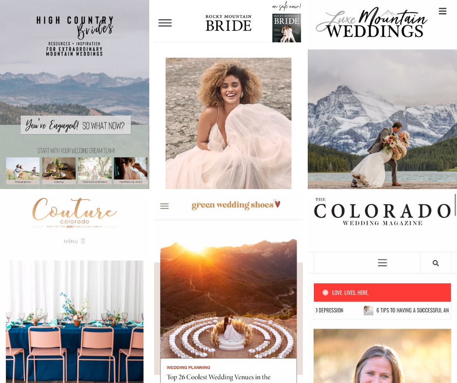 Cover Images of different Wedding Publication images collaged together by Hillary Shedd Photography, Colorado Wedding Photographer