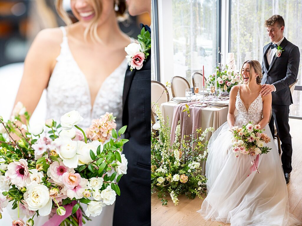 bride and groom hold flowers together